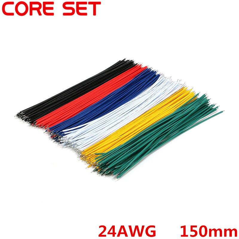 100 unids/lote cable de puente de placa de pruebas de estaño cable 150mm 24AWG para Arduino 6 colores Flexible dos extremos PVC cable electrónico