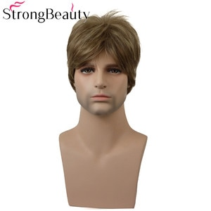 StrongBeauty Short Mens Wig Straight Blonde/Brown Synthetic Wig Male Hiar Heat Resistant Capless Wig COLOUR CHOICES