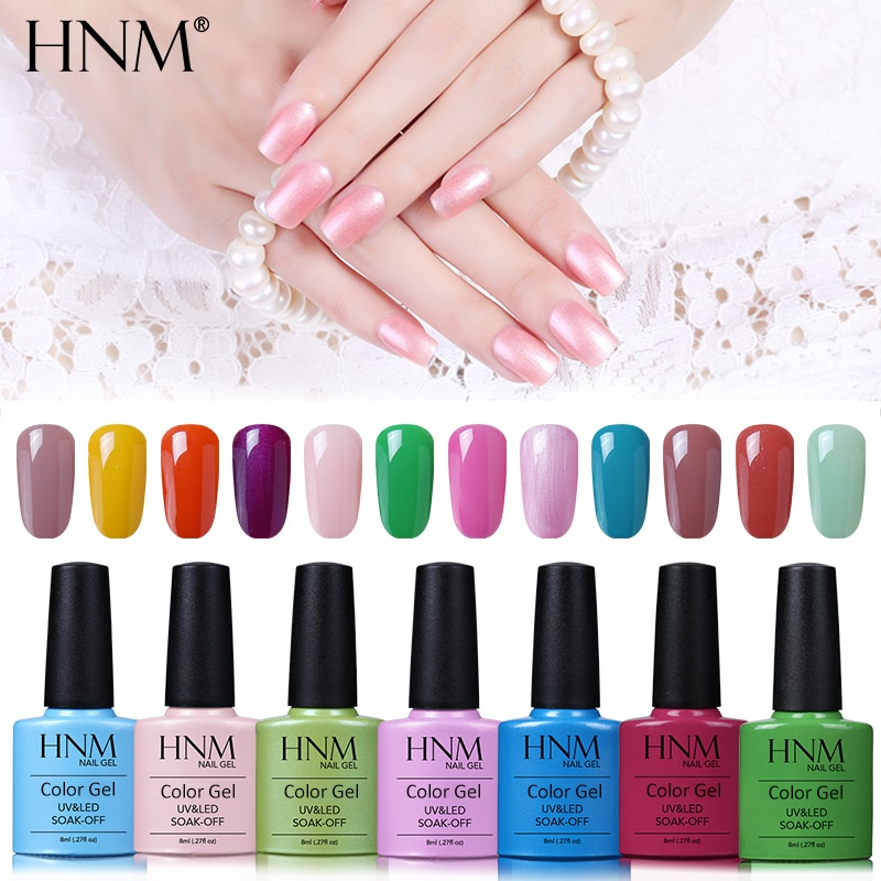 HNM 8ml Nail Polish Soak Off UV LED Pure Color Glue Varnish Base Top Primer Stamping Paint Gellak Hybrid Varnishes Nail Polish