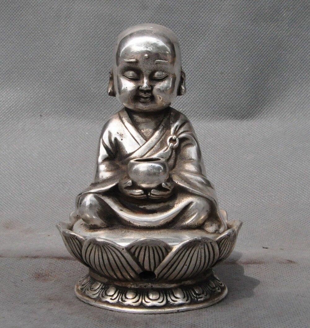 Artesanía estatua China budismo plata rezar budista estatua del monje Buda incensario quemador halloween