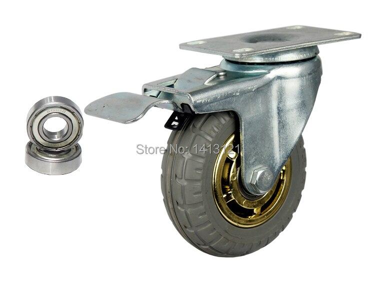 Rueda rueda neumático caucho sólido cojinete de rueda de carrito de compras rueda redonda silenciosa universal rueda pequeña carros cama médica