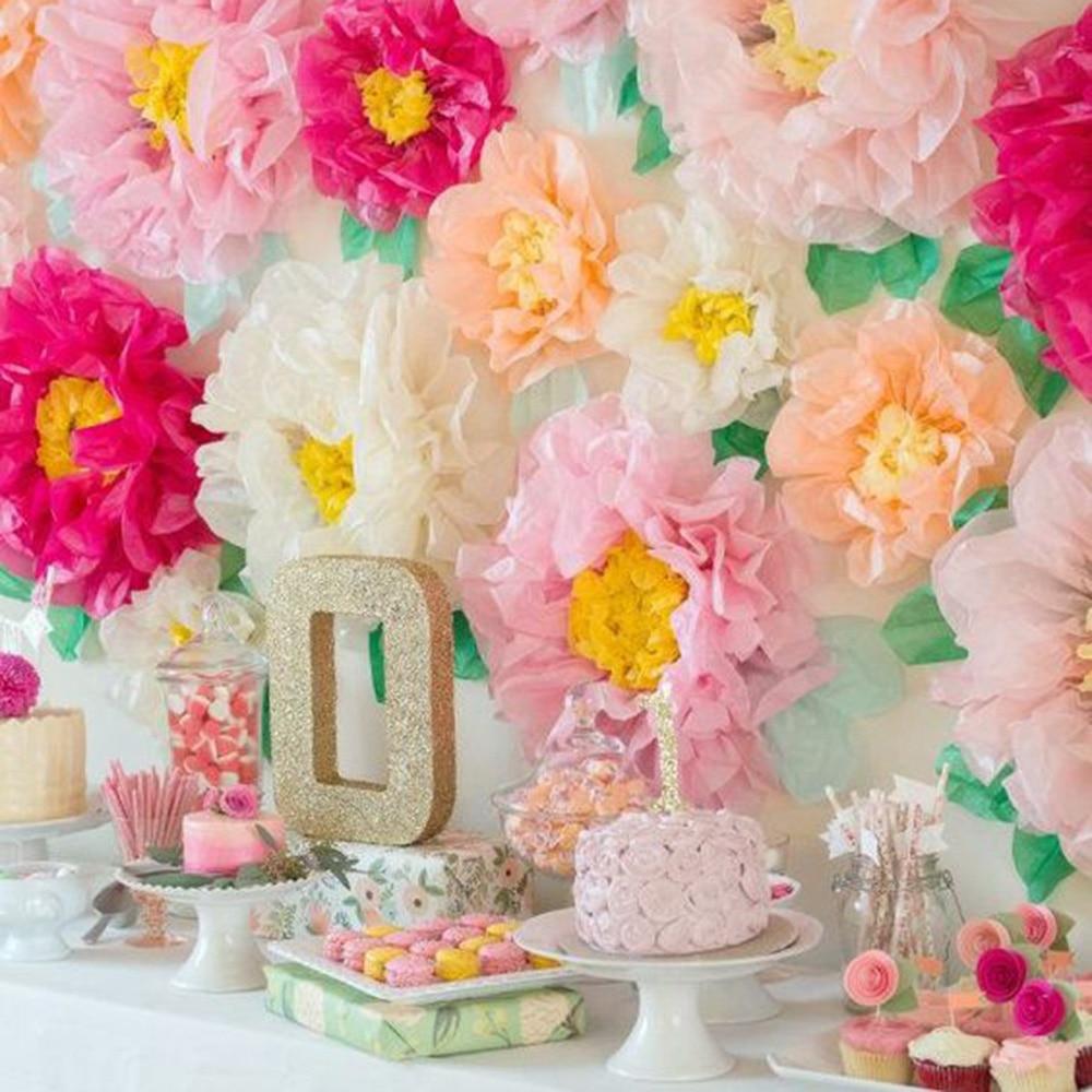 Набор из 3 папиросной бумаги Pom Flower Stamen Chrysanth Flower Centerpiece Tea Party Birthday Wedding Baby Shower Garden Decor
