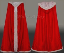Red Fur Trim Satin Cloak Cape Renaissance Wedding Full Length Medieval Bridal Cape