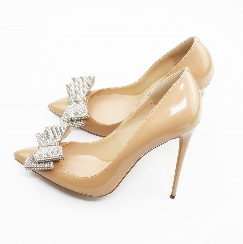 Zapatos de tacón alto para trabajo de oficina a la moda para mujer, zapatos de tacón puntiagudos sexis para mujer, zapatos de discoteca para mujer con lazo de talla grande C025A