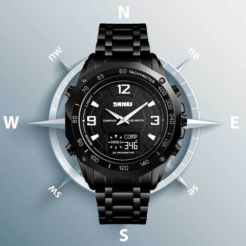 SKMEI Men Digital Watch Luxury Compass Temperature Electronic Wristwatch Fashion Calorie Pedometer Sport Wristwatch Man Watches