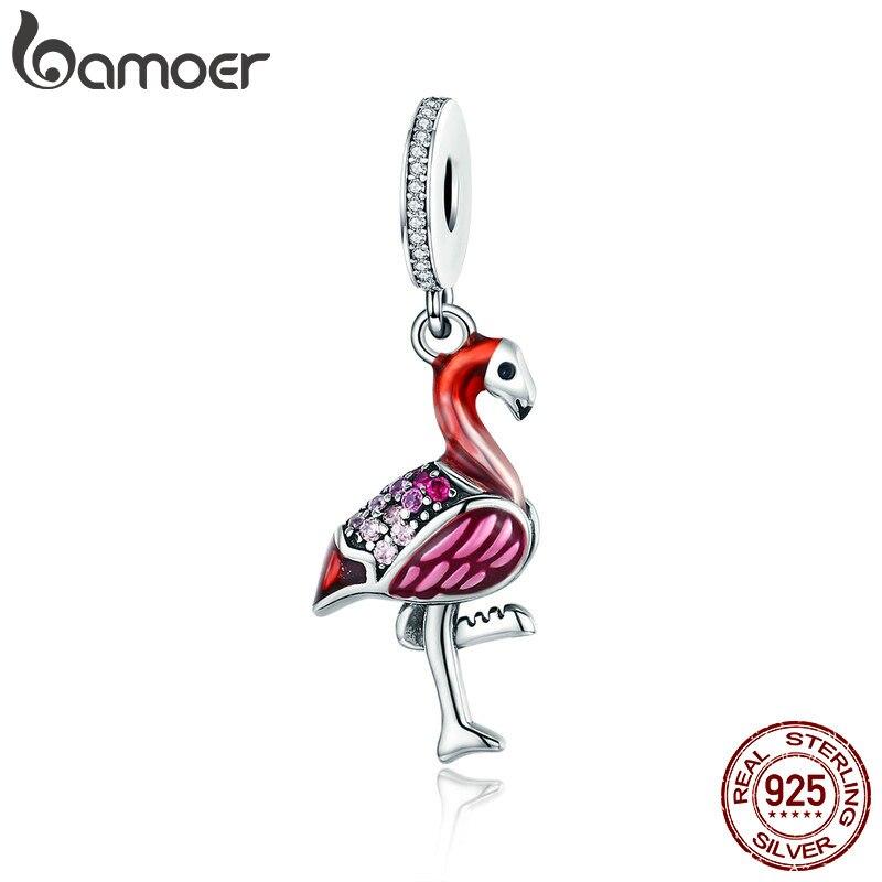 Bamoer na moda novo 925 prata esterlina quente vermelho pássaro esmalte encantos pingente caber charme pulseiras & colares corrente jóias scc804