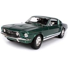 Автомобильный литой диск Maisto, винтажная Модель ford mustang gta fastback, черный и зеленый цвета, модель автомобиля 260*100*75 мм, модель 31166
