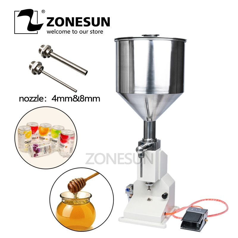 ZONESUN-آلة تعبئة هوائية A02 ، آلة تعبئة يدوية جديدة للكريم والشامبو ومستحضرات التجميل والأطعمة والمشروبات السائلة ، 5 ~ 50 مللي