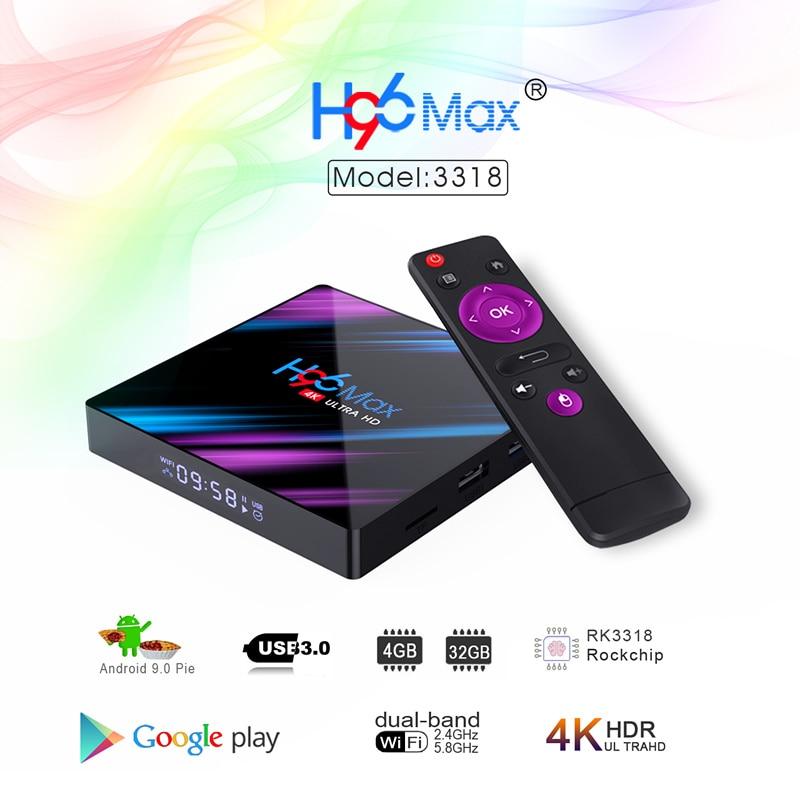 الروبوت 9.0 H96 ماكس 3318 الذكية التلفزيون مربع 2.4G/5G ثنائي الموجات Wifi RK3318 بلوتوث 4.0 H96Max 4G 32G/64G 4K HDR البسيطة مربع LED عرض