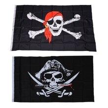 Pirate Flags Karibik Schädel Kopf Schädel Pirate Skeleton Sabre Jolly Roger 150x90 cm & NEUE 3x5 pirate mit Red Bandana 3x5 J