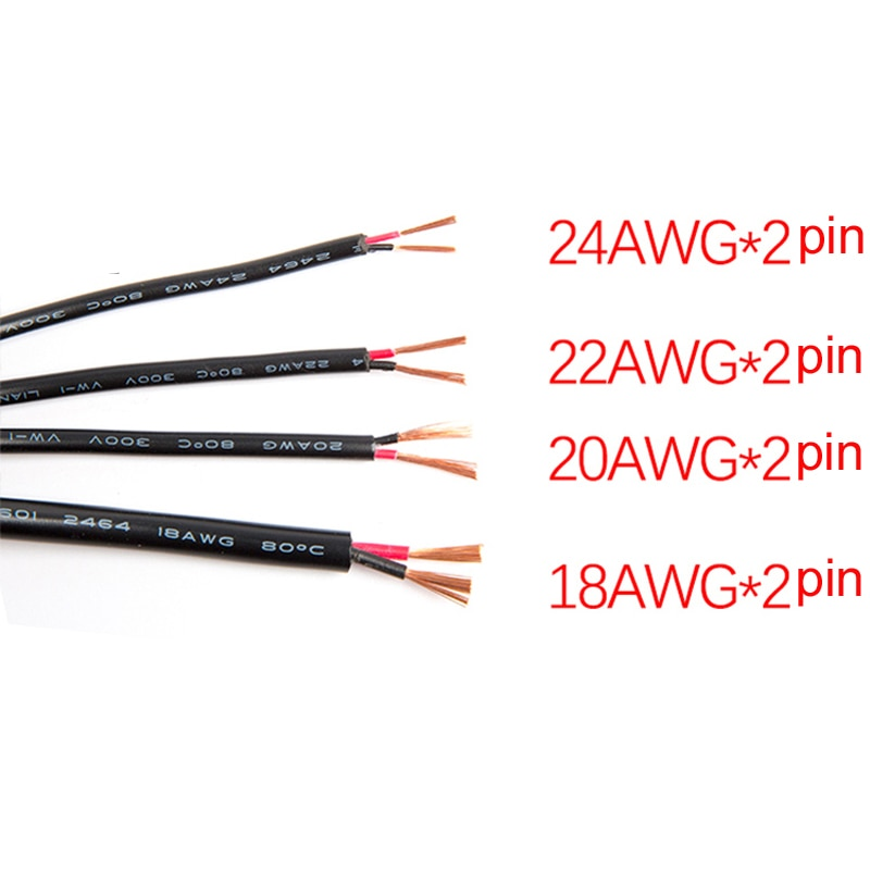 2 Pin 10M 20M 18AWG 20AWG 22AWG 24AWG Electric White Black Extension Wire LED power Cable for single