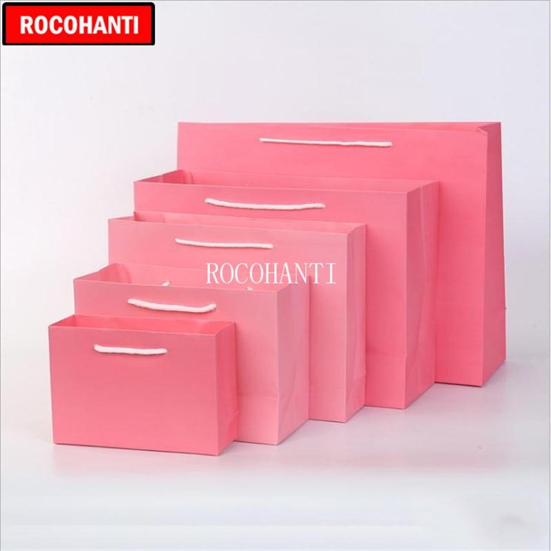50X sac de papier Kraft lourd personnalisé couleur rose sac de papier Shopping de noël