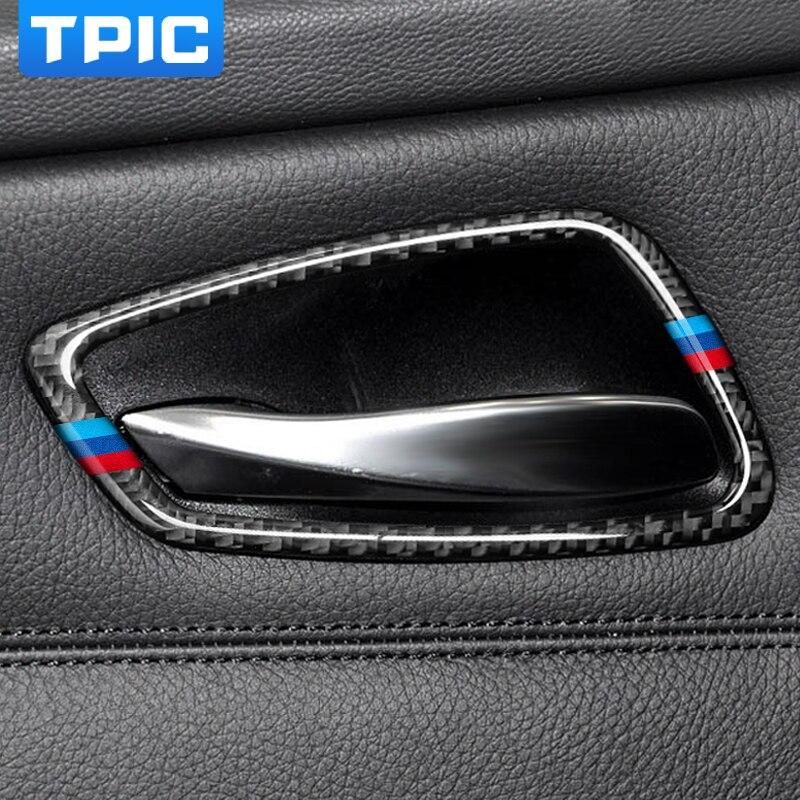 Cubierta de manija de puerta interior de coche de fibra de carbono pegatinas y pegatinas para BMW E90 E92 E93 3 series 2005-2012 Accesorios