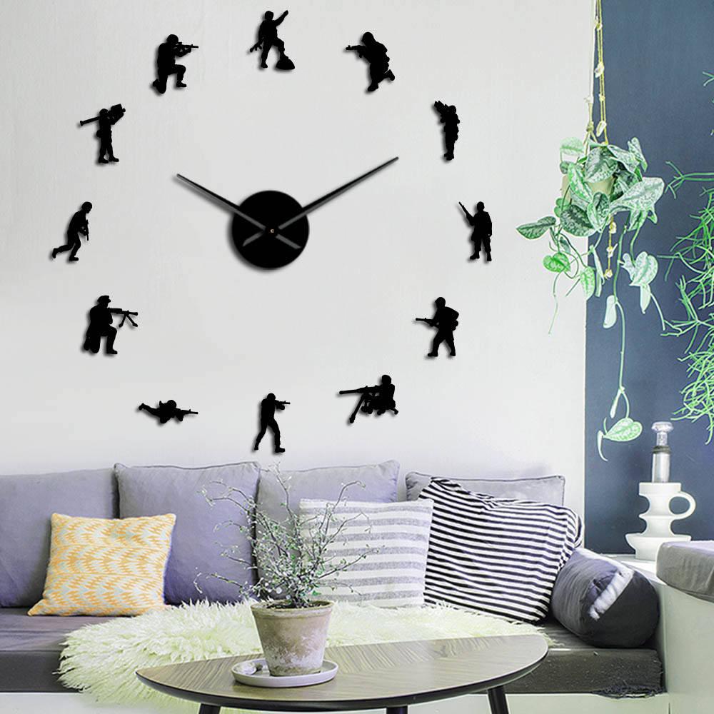 Soldados militares, silueta DIY, reloj de pared, héroe del ejército, sin marco, tiempo con reloj de gran efecto espejo, pegatinas, tema patriótico