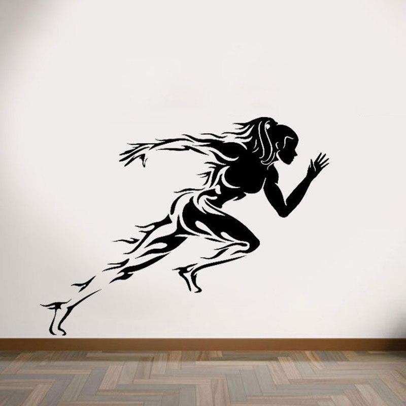 Worry Less Run More спортивные художественные наклейки для спортзала студия Настенный Съемный художественный стикер виниловая роспись для бега женские настенные наклейки AY1884