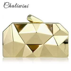 Chaliwini Top Quality Black Hexagon Female Metal Purses Luxury Silver Box Handbags Women Gold Designer Evening Bags 3 colors