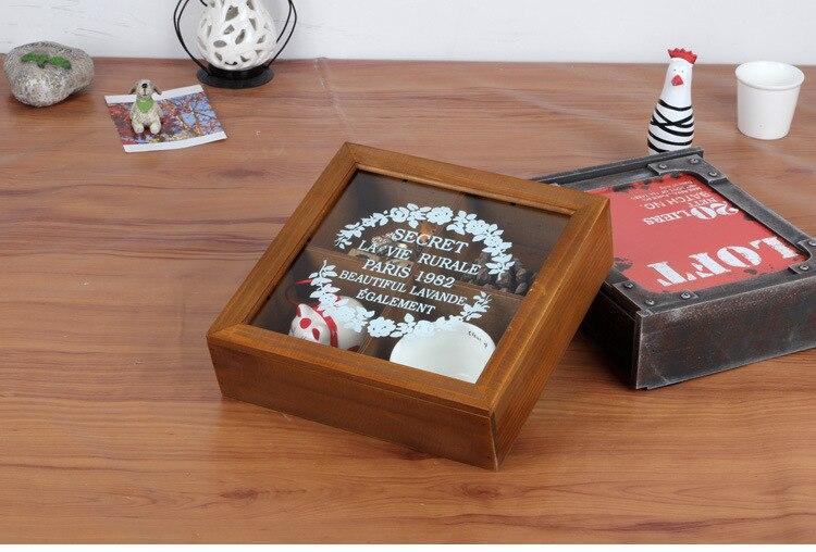 1 caja de almacenamiento de 4 entramado de madera de Zakka, antiguo, de madera, caja de joyería de madera retro, con caja eterna, organizador de oficina de escritorio JL 0939