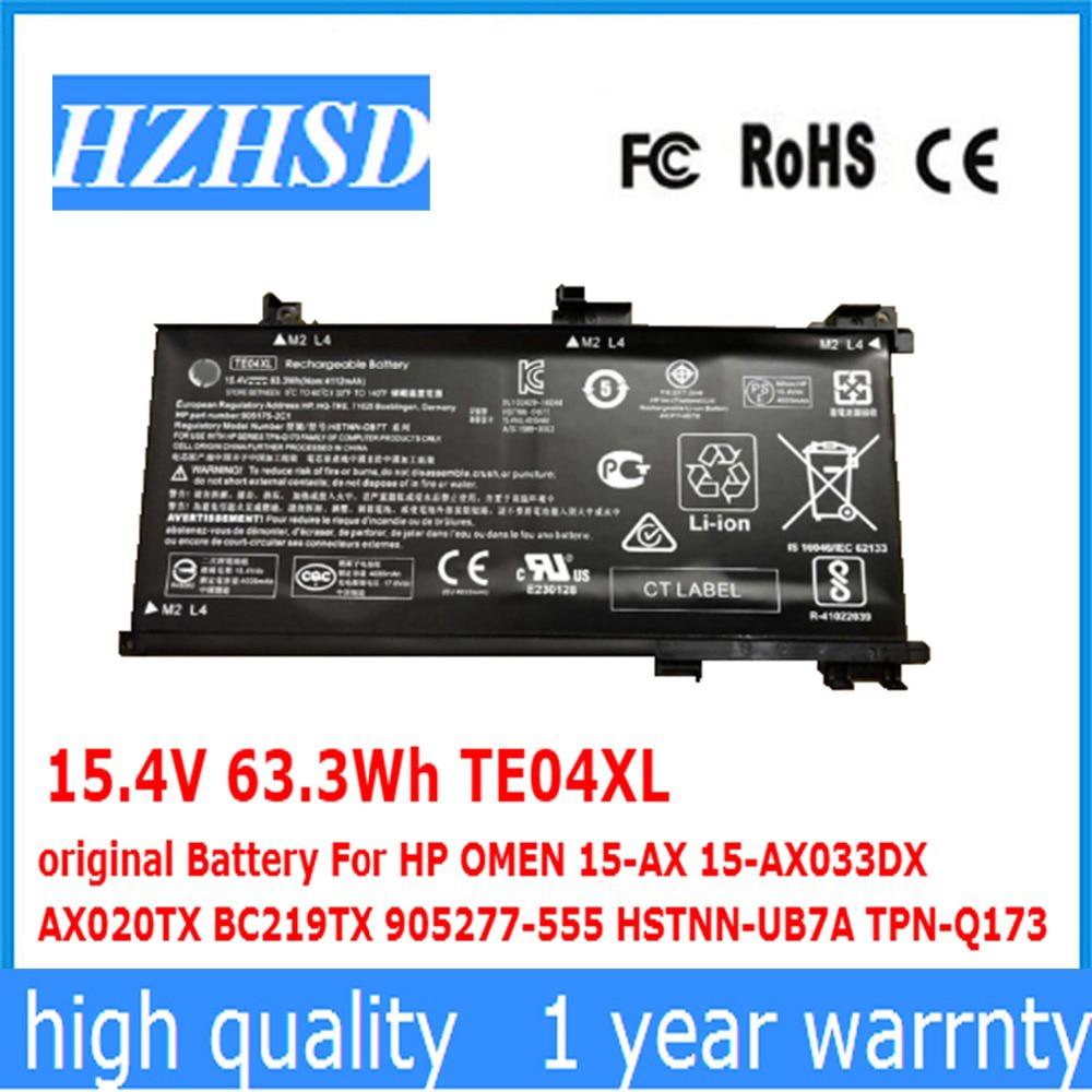 15,4 V 63.3Wh TE04XL Оригинальная батарея для HP OMEN 15-AX 15-AX033DX AX020TX BC219TX 905277-555 HSTNN-UB7A TPN-Q173
