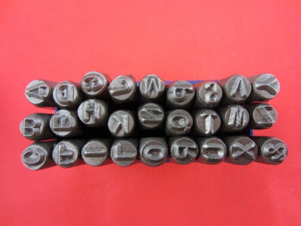 """Envío gratis de herramienta de cuero de 1/8 """", 3 MM, A-Z de letra mayúscula, juego de sellos de grabado, punzón de metal de 27 piezas"""