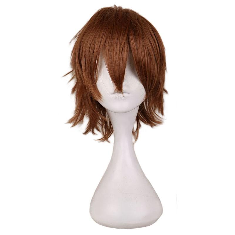 QQXCAIW corto Luz de Cosplay peluca café hombres 30 Cm pelucas de pelo sintético