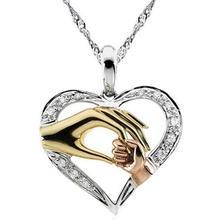 2020 Circonia cúbica collar de mamá bebé corazón colgante hija hijo familia amor joyería amigos cumpleaños Día de la madre caja de regalo