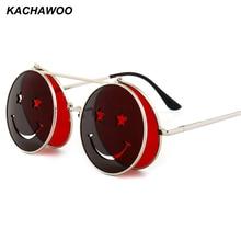 Kachawoo flip up round sunglasses men vintage red pink yellow round sun glasses for women accessories summer beach 2018