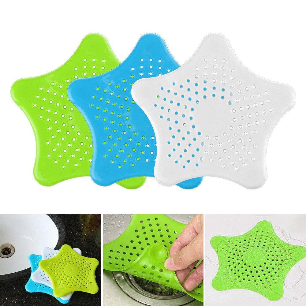 Criativo anti entupimento de silicone dreno piscina dissipador esgoto detritos filtro net cozinha e banheiro pentagrama pia filtro m14