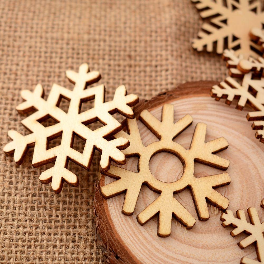 10Pcs/set  Assorted Wooden Snowflake Laser Cut Christmas Tree Hanging Decor Ornament  5.1cm