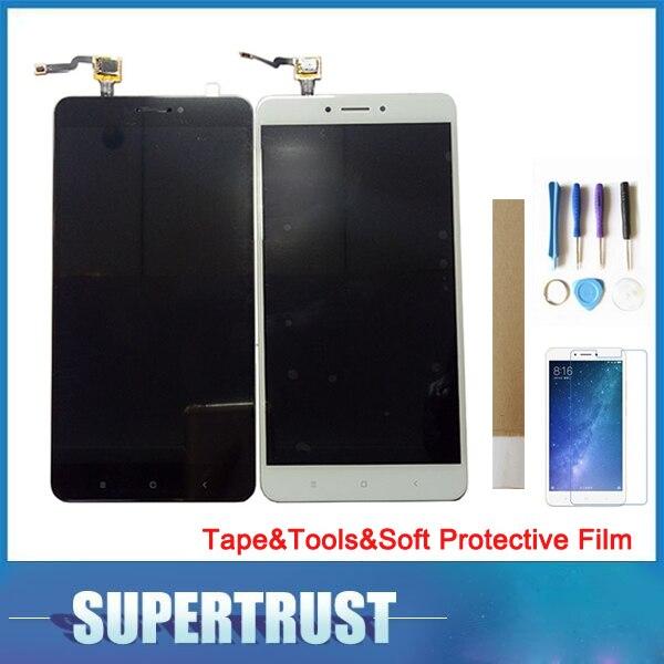 """6,44 """"para Xiaomi Max2 Max 2 pantalla LCD + pantalla táctil blanco y negro con cinta y herramientas y suave película protectora"""