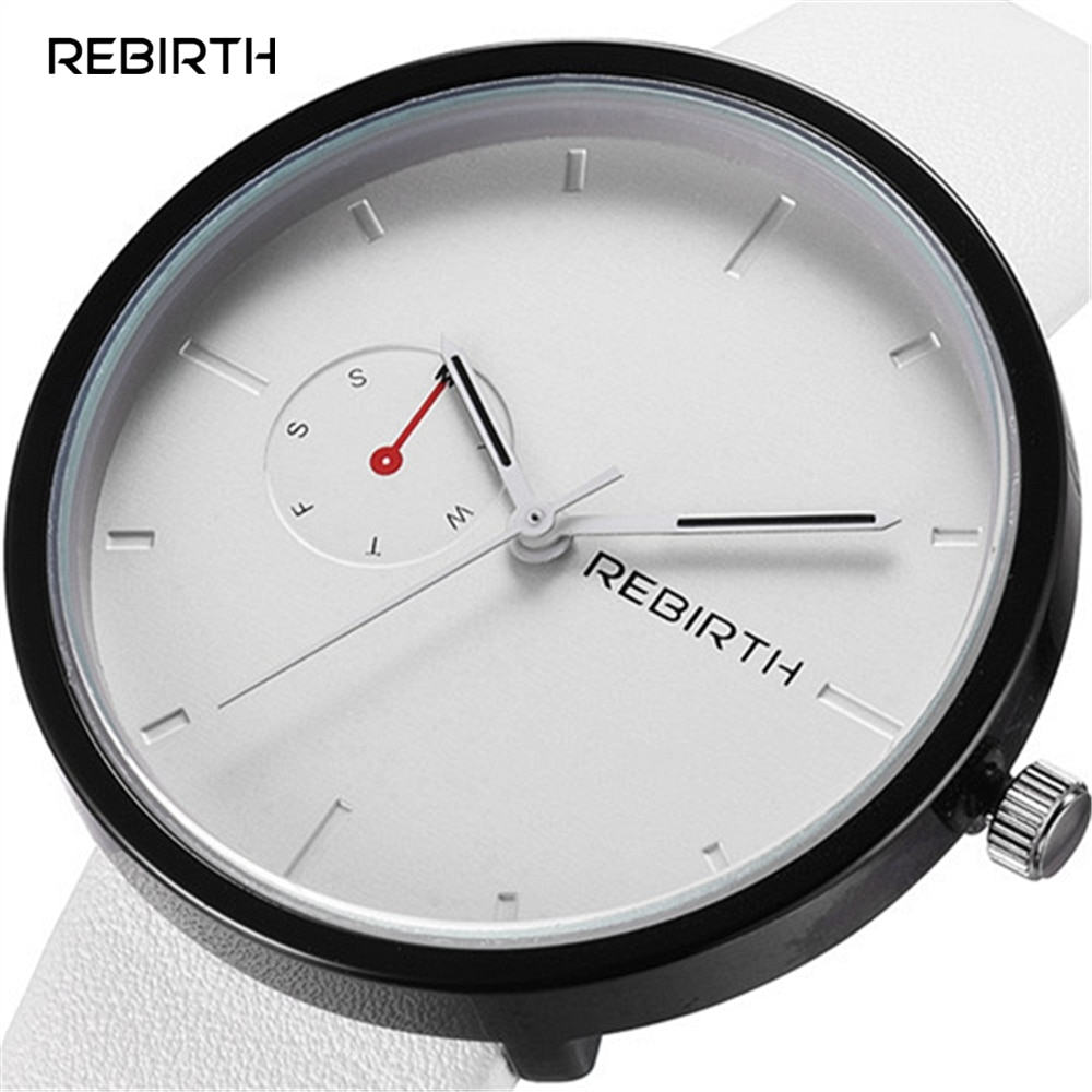 2016 Топ REBIRTH Кварцевые часы Женские нарядные часы женские кожаные простые часы с циферблатом Бизнес Кварцевые часы Relogio Feminino