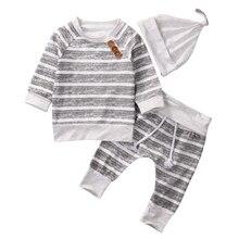 Sweat-shirt à manches longues et avec rayures   3 pièces, haut avec des boutons décoratifs, pantalon dépouillé et chapeau, pour bébé garçon