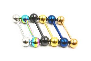 Free Shipping 50pcs Body Jewelry Twist Tongue/ Nipple Shield Ring Barbells Bar 14G~1.6mmX16mmx6/6mm Piercing Jewelry