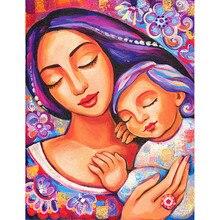 Oil Painting Mothers Tender Love Embroidery Paintings Rhinestone Pasted DIY Panda Warm Love Diamond Cross Stitch Needle Arts