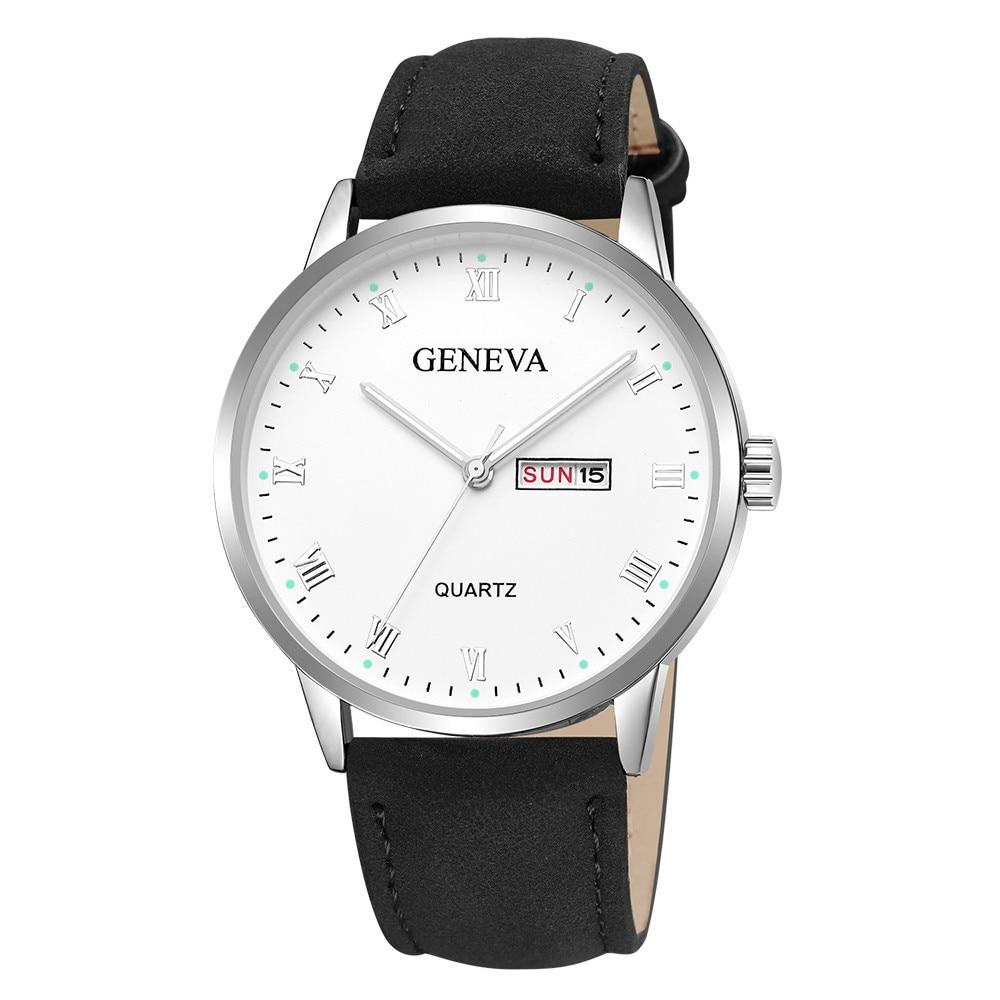 Reloj GENEVA a la moda informal de lujo de marca superior para hombre, reloj de pulsera de cuero de negocio simple para hombre, relojes de pulsera de cuarzo para hombre