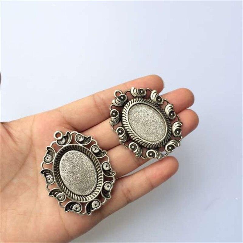 Se adapta a 18x25mm bronce antiguo de plata camafeo vidrio cabujón marco ajustes de bisel colgante encanto de alta calidad 10 Uds T618