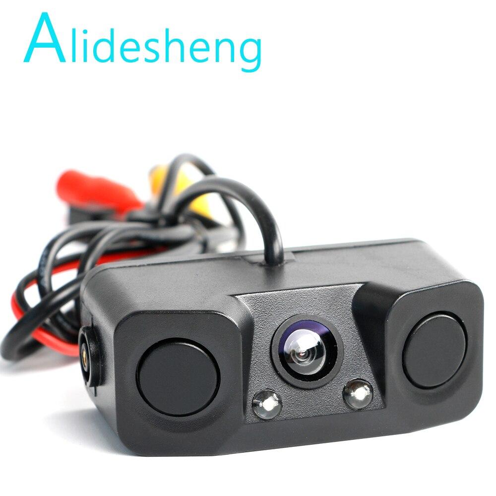 Vista trasera de coche Cámara visión nocturna LED luz HD cámara de visión trasera para coche añadir marcha atrás aparcamiento sensor de radar automático detector Cámara