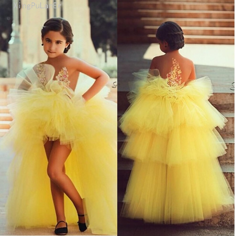 long sleeve flower girl dresses for weddings ball gown tulle lace beaded baby long first communion dresses for little girls Yellow 2019 Flower Girl Dresses For Weddings Ball Gown Hi Low Tulle Tiered Long First Communion Dresses For Little Girls