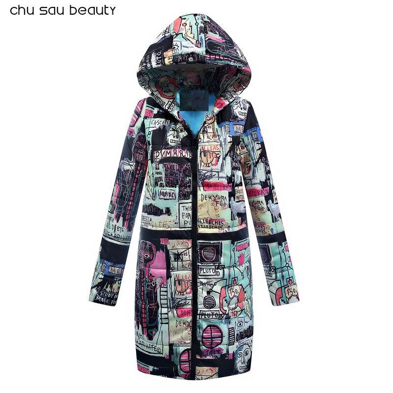 2019 parkas de algodón Otoño Invierno Chaqueta larga parka gruesa de manga larga con capucha abrigos de Mujer abrigo de mujer