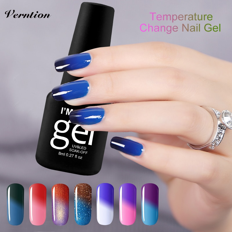 Verntion suerte Color Gel cambio de temperatura Thermo esmalte de Gel de uñas Uv lacas remojo de pegamento Uv Color de uñas suerte Gel polaco