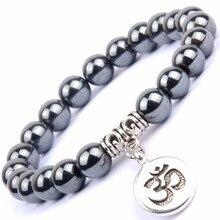 Natural Black Hematite Stone Beads Bracelets Bangles Women OM Charm Buddha Bangle Men Wristband Jewelry Pulsera Hombres