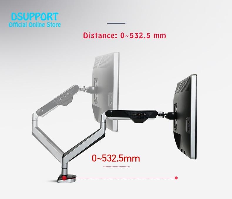 Neue D8A Aluminium Gasfeder Full-motion-3d-lcd Desktop Monitorhalterung LCD Computer Montieren Arm Laden 2-9kgs Mit Zwei Usb-anschluss