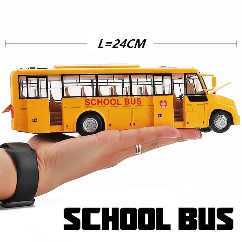 GROTE School Bus 24CM Diecasts Model Hoge Kwaliteit Meerdere Functies Deuren Te Openen W/Knipperende Lichten Echte Stem Aanwezig voor Kids