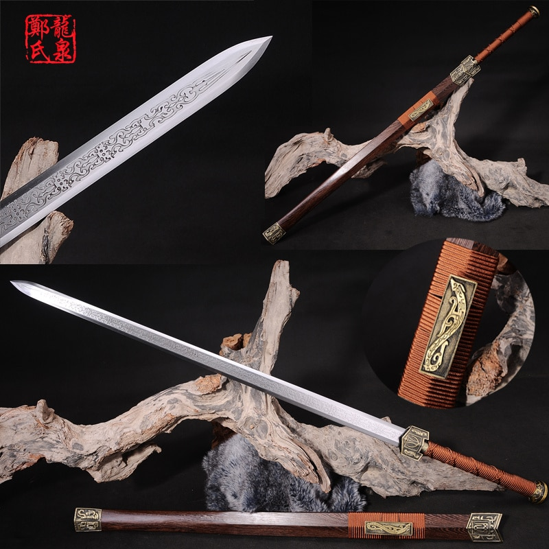 Espada china de doble filo de acero Real rosa de madera de vaina Fungshui ornamentos Full Tang Sharp-Novel Souvenir-Hanjian