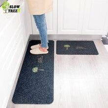 Slow Tree 2PCS Kitchen Mat Anti-slip Water Absorption Floor Mat Doormat Bathroom Mat Bedroom Living Room Carpet