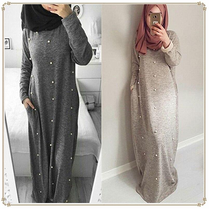 Платье женское, длинное, повседневное, из хлопка, с жемчужным карманом