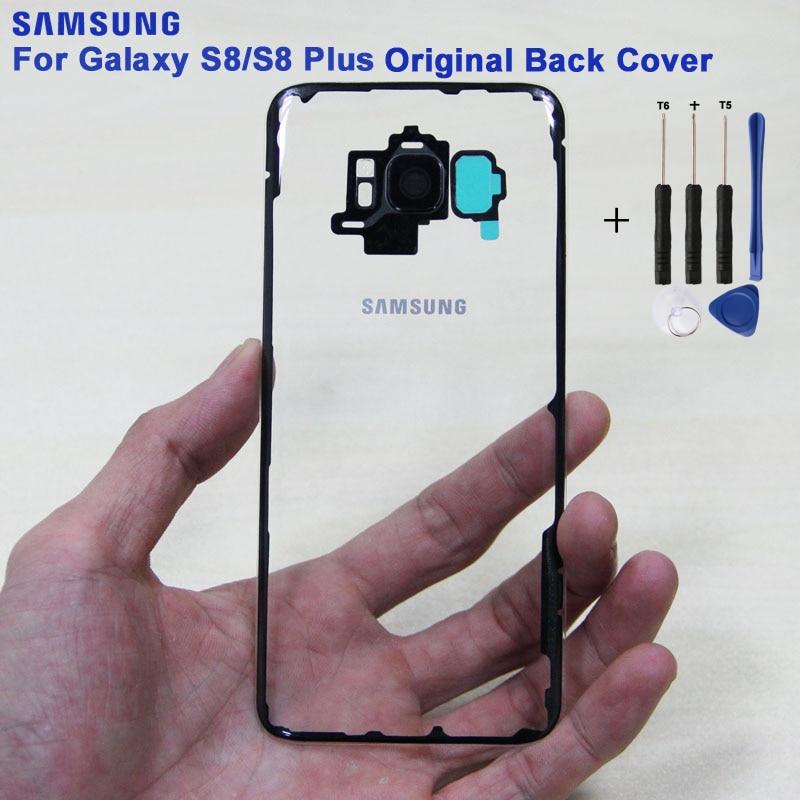 SAMSUNG Original batería trasera puerta vidrio trasero funda para samsung Galaxy S8 G9500 S8Plus SM-G SM-G955 vidrio parte posterior transparente cubierta