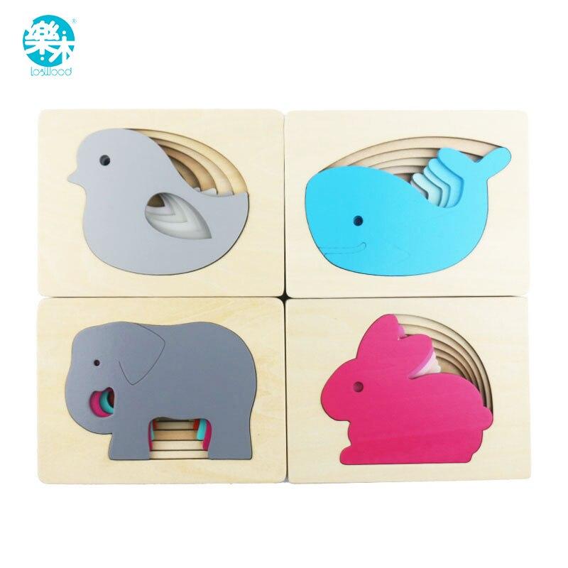 Rompecabezas de conejo cartón Logwood/pájaro/elefante/ballena rompecabezas de múltiples capas juguetes de madera para bebés niño iluminación temprana agarre educativo