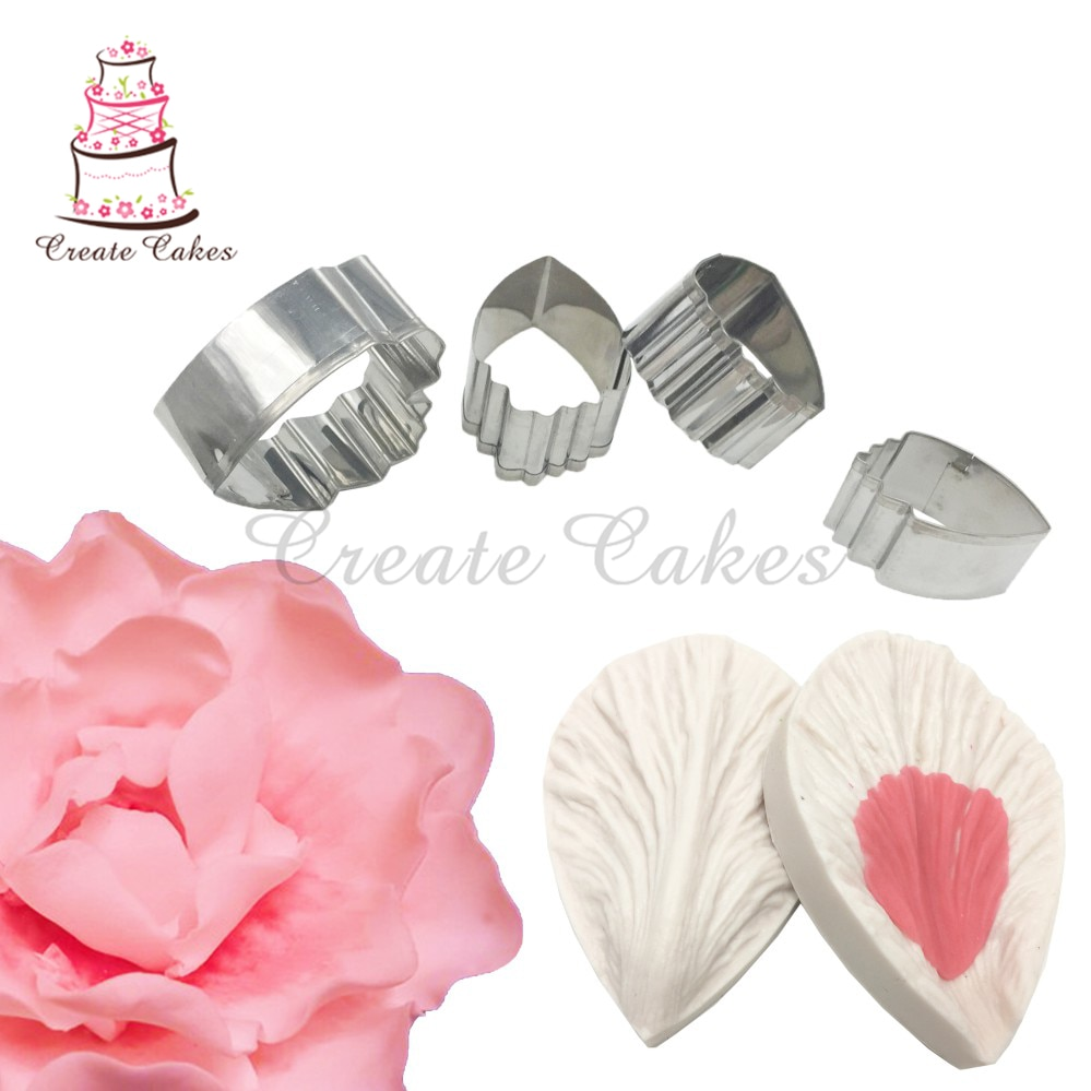 Small Size Peony Flower Decorating Set for Wedding Cake Decoration Petal Veiner Mold Flower Shape Cutter Fondant Backing Tools