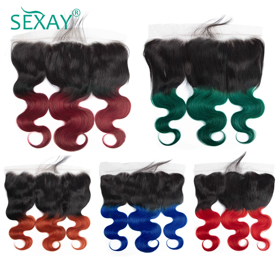 Sexay 99J Red Lace Frontals Pre Plucked For Black Women Brazilian Body Wave Human Hair Green Blue 350 13x4 Swiss Lace Frontal