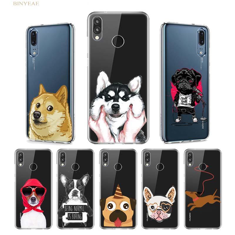 Animal Case for Huawei P20 P30 P40 Lite E P Smart Plus 2019 Mate 30 20 10 Pro Silicone Capa Cover Hot Dog Wacky Husky Bulldog